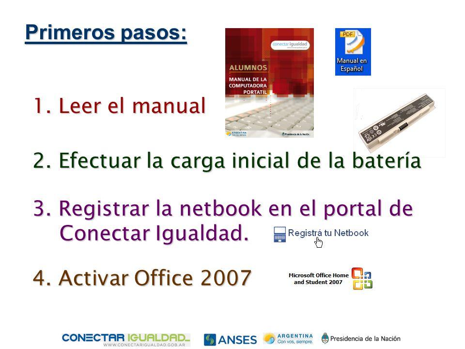 Primeros pasos: 1. Leer el manual 2. Efectuar la carga inicial de la batería 3.