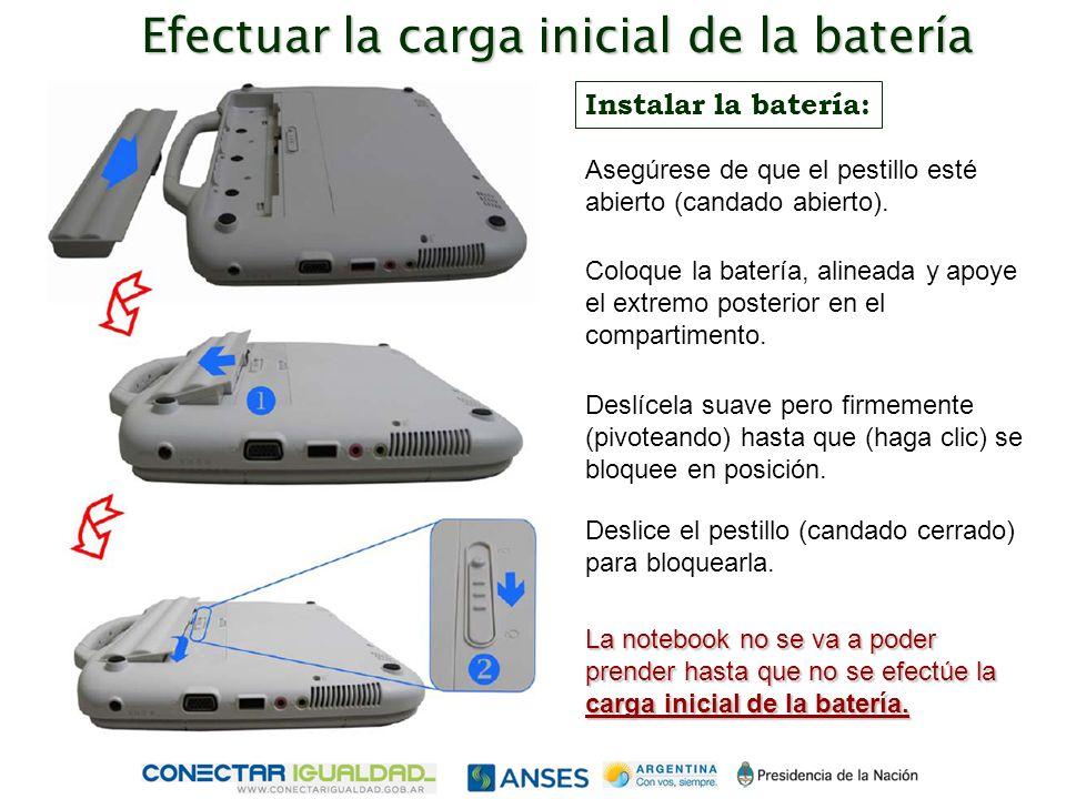Efectuar la carga inicial de la batería Instalar la batería: Coloque la batería, alineada y apoye el extremo posterior en el compartimento.
