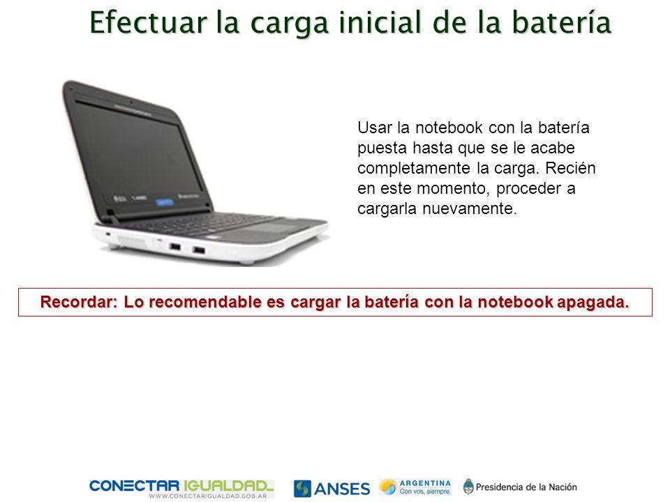 Usar la notebook con la batería puesta hasta que se le acabe completamente la carga.