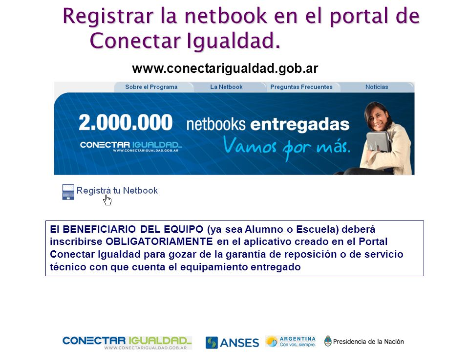 Registrar la netbook en el portal de Conectar Igualdad.
