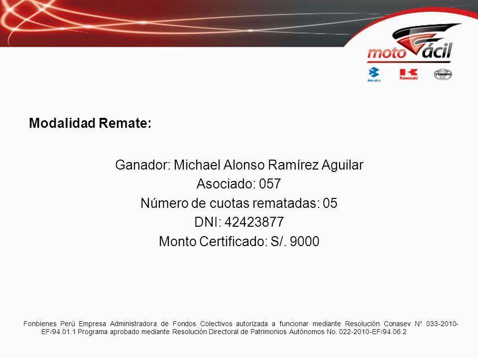 Modalidad Remate: Ganador: Michael Alonso Ramírez Aguilar Asociado: 057 Número de cuotas rematadas: 05 DNI: 42423877 Monto Certificado: S/. 9000 Fonbi
