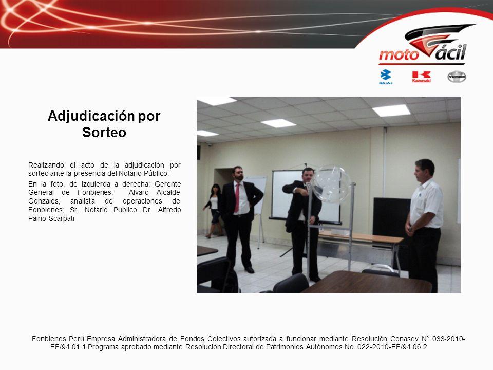 Adjudicados Asamblea N° 5 Motofácil Modalidad Por Sorteo: Ganador: Abel Manuel Salgado Huaman Asociado: 053 DNI: 43375720 Monto certificado: S/.