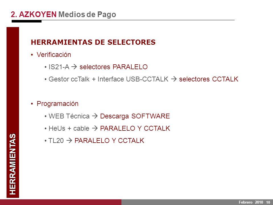 Febrero 2010 10 HERRAMIENTAS 2. AZKOYEN Medios de Pago HERRAMIENTAS DE SELECTORES Verificación IS21-A selectores PARALELO Gestor ccTalk + Interface US
