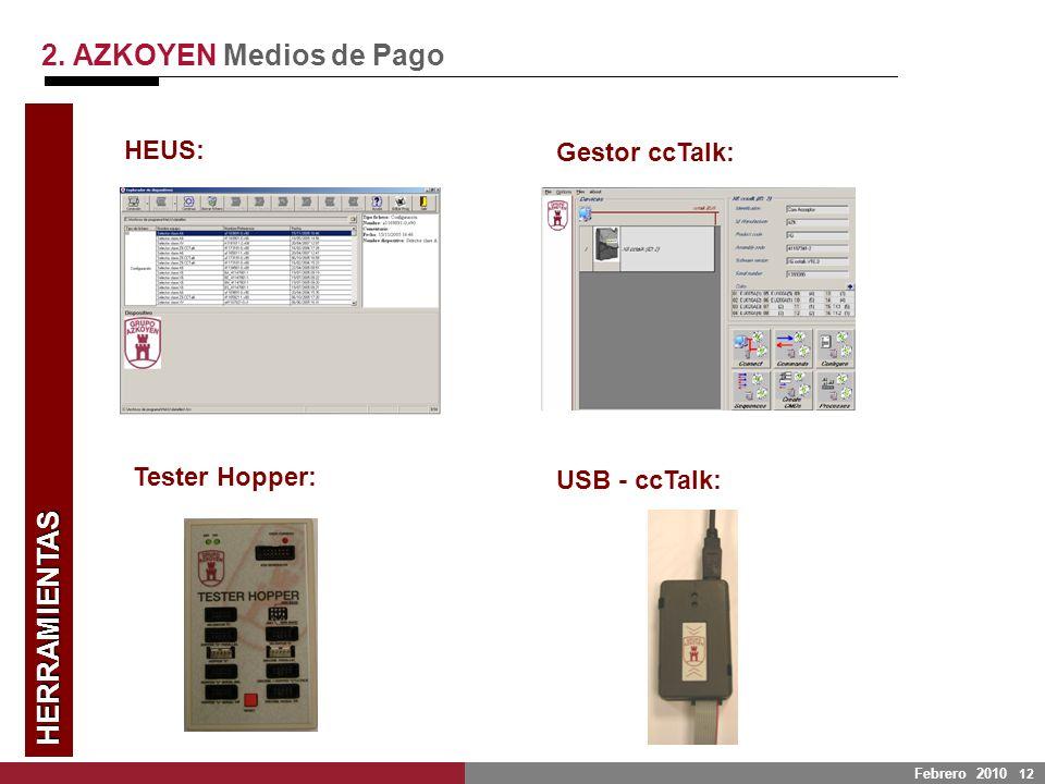 Febrero 2010 12 HERRAMIENTAS 2. AZKOYEN Medios de Pago HEUS: Gestor ccTalk: Tester Hopper: USB - ccTalk: