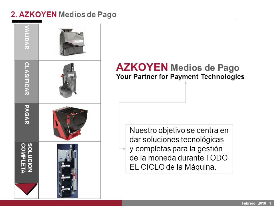 Febrero 2010 1 2. AZKOYEN Medios de Pago VALIDAR CLASIFICAR PAGAR SOLUCIONCOMPLETA Nuestro objetivo se centra en dar soluciones tecnológicas y complet