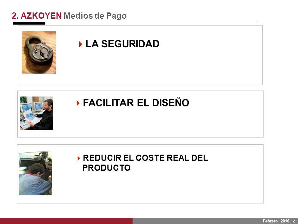 Febrero 2010 2 LA SEGURIDAD 2. AZKOYEN Medios de Pago FACILITAR EL DISEÑO REDUCIR EL COSTE REAL DEL PRODUCTO