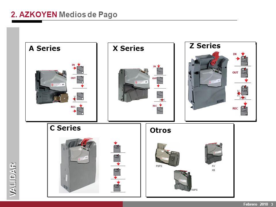 Febrero 2010 3 A Series Z Series C Series Otros 2. AZKOYEN Medios de Pago VALIDAR X Series