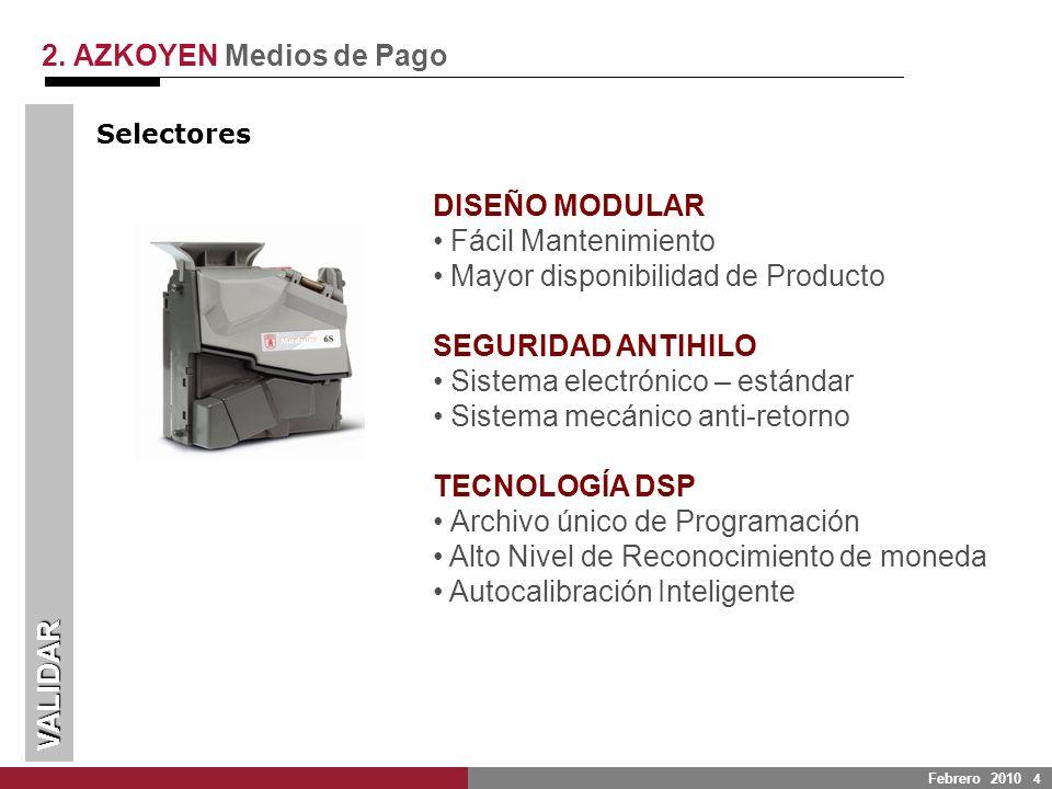 Febrero 2010 4 VALIDAR 2. AZKOYEN Medios de Pago DISEÑO MODULAR Fácil Mantenimiento Mayor disponibilidad de Producto SEGURIDAD ANTIHILO Sistema electr