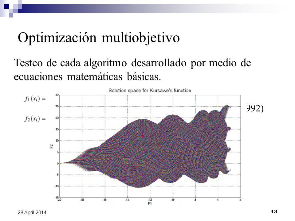 13 28 April 2014 Optimización multiobjetivo Testeo de cada algoritmo desarrollado por medio de ecuaciones matemáticas básicas.