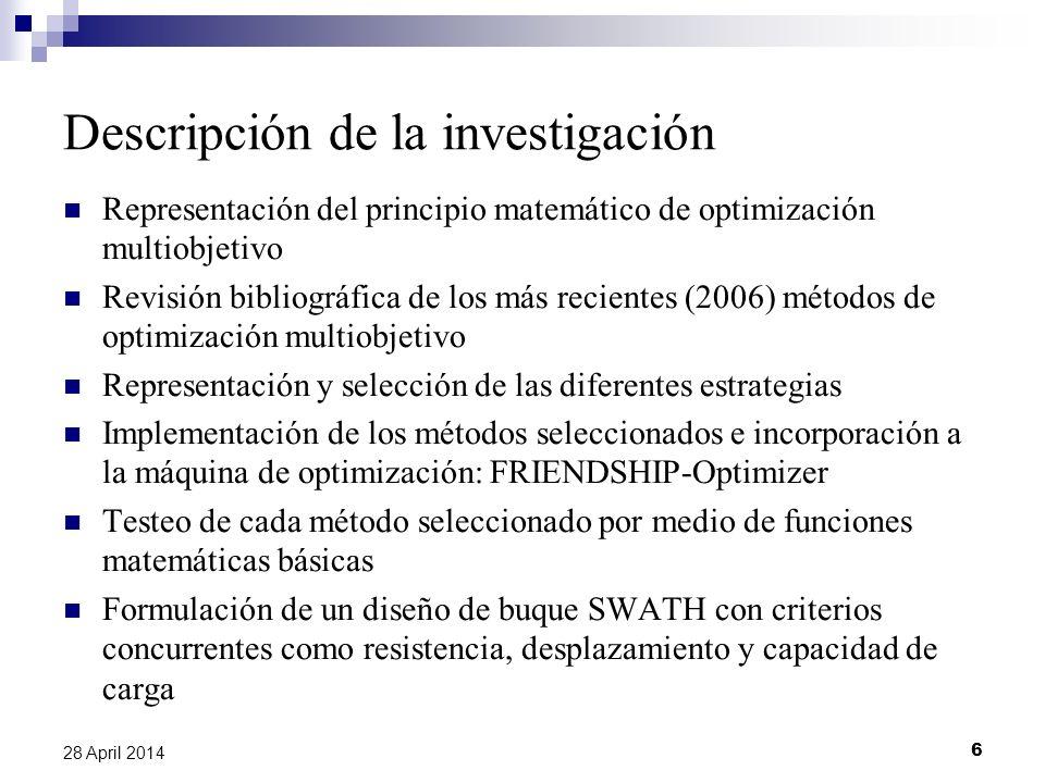 6 28 April 2014 Descripción de la investigación Representación del principio matemático de optimización multiobjetivo Revisión bibliográfica de los má