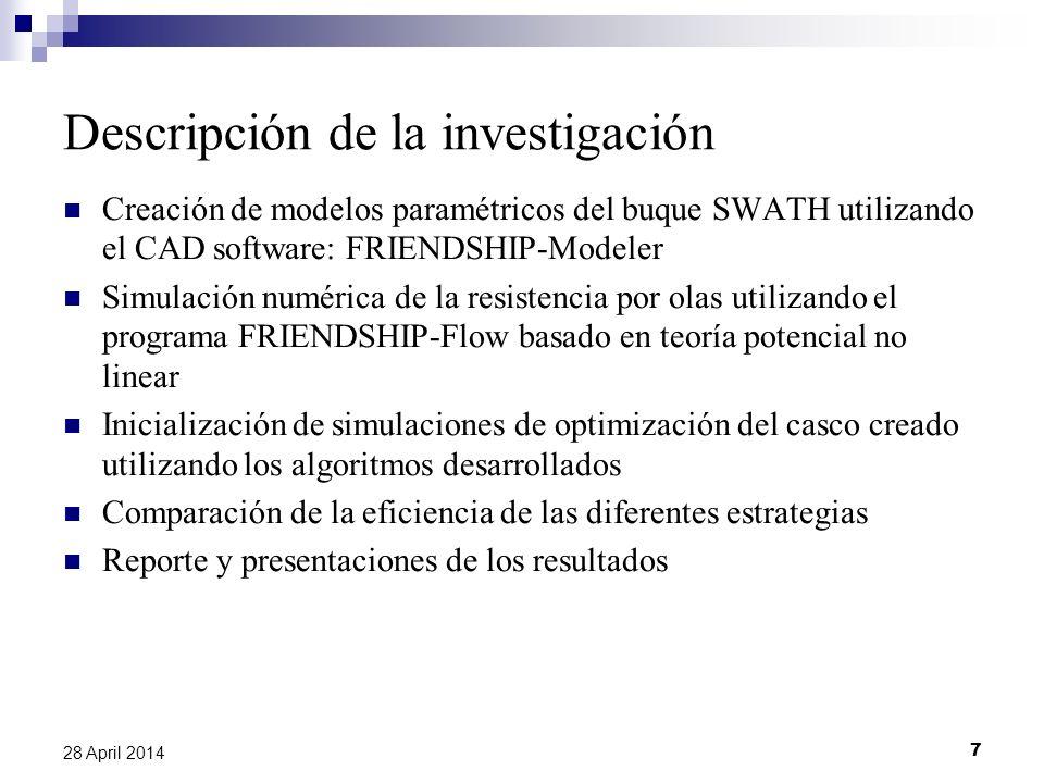 7 28 April 2014 Descripción de la investigación Creación de modelos paramétricos del buque SWATH utilizando el CAD software: FRIENDSHIP-Modeler Simula