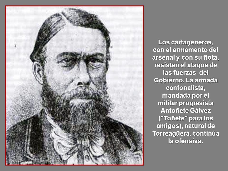 El 18 de julio le sustituye Salmerón, que no le hace ni caso y envía tropas a Cartagena para abolir la independencia declarada por el Cantón.