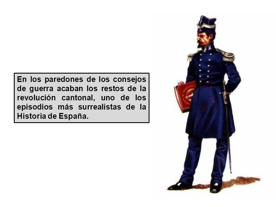 El presidente Salmerón envia al general Martínez Campos y sus tropas a Levante y Andalucía. Los cantones, desorganizados y en estado de guerra entre s