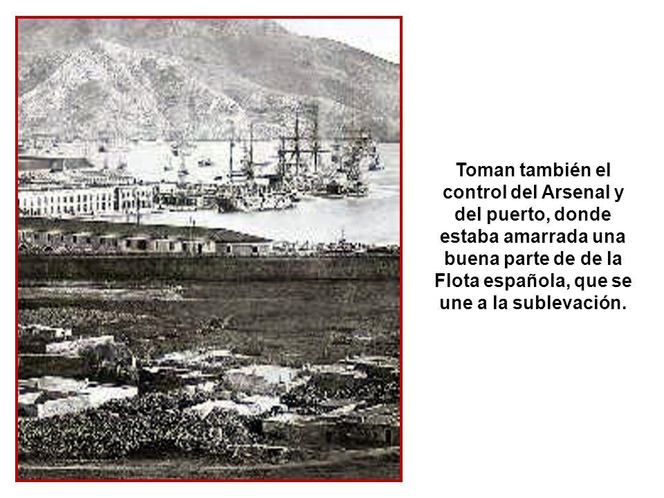 A tal efecto, los cartageneros se hacen con el Gobierno Civil y el Militar, asaltan el Ayuntamiento y crean una Junta que, en nombre del Cantón Indepe