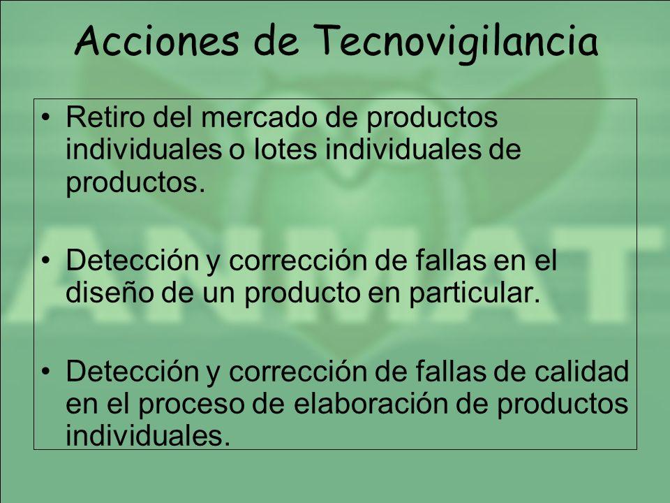 Acciones de Tecnovigilancia Retiro del mercado de productos individuales o lotes individuales de productos. Detección y corrección de fallas en el dis