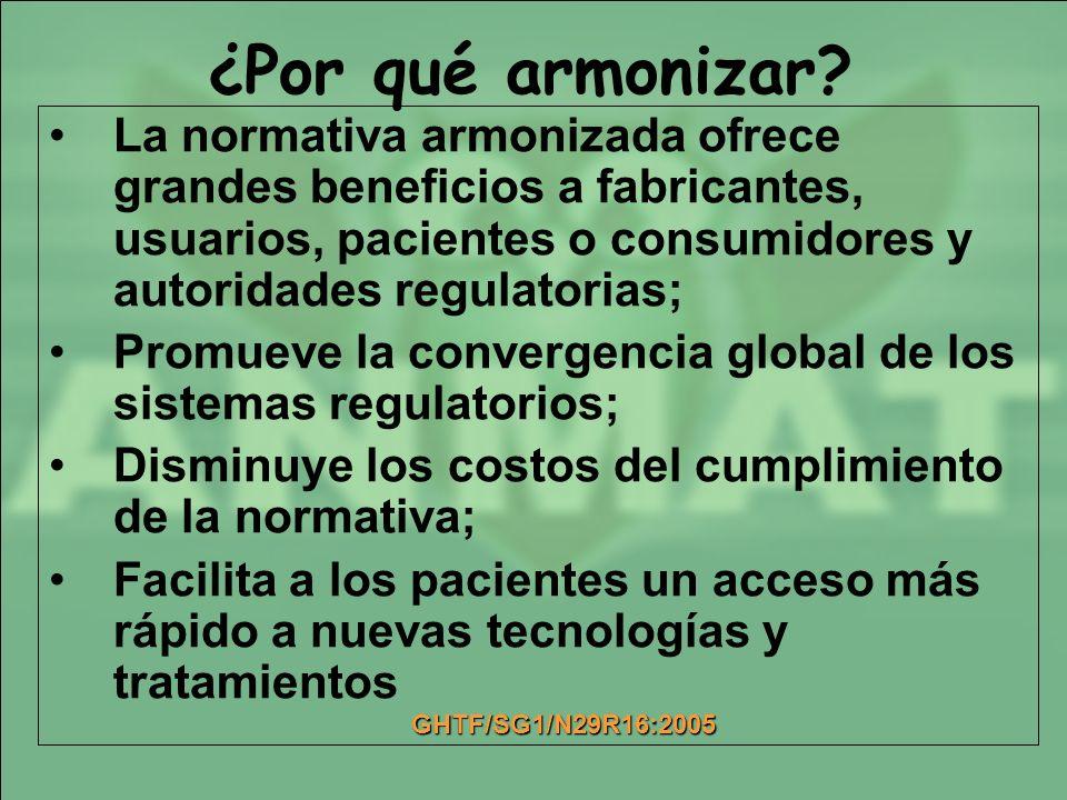 La normativa armonizada ofrece grandes beneficios a fabricantes, usuarios, pacientes o consumidores y autoridades regulatorias; Promueve la convergenc