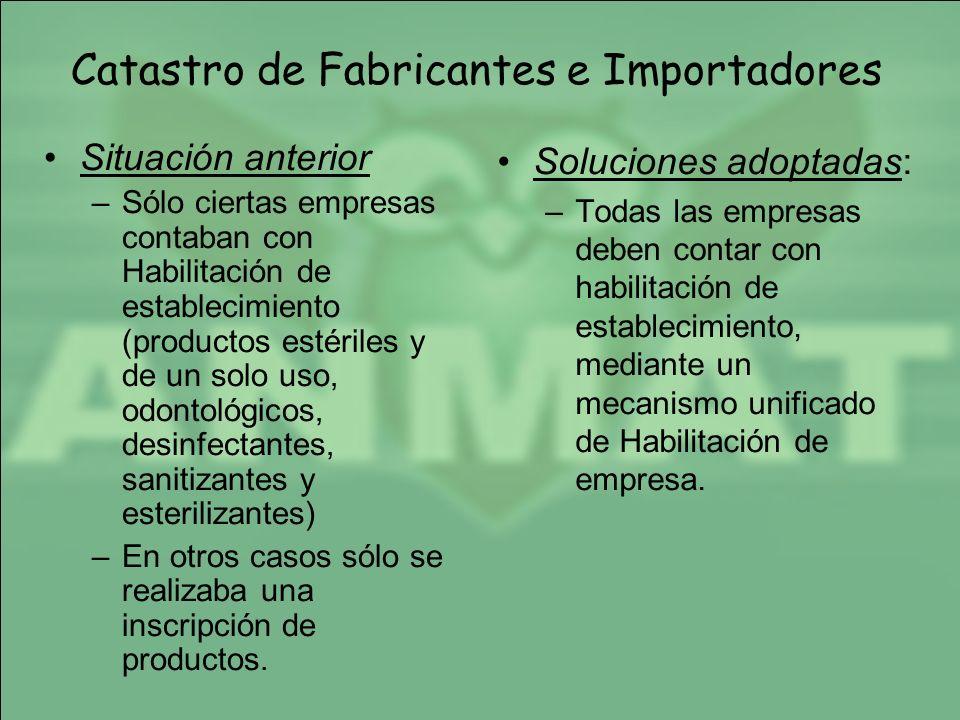 Catastro de Fabricantes e Importadores Situación anterior –Sólo ciertas empresas contaban con Habilitación de establecimiento (productos estériles y d