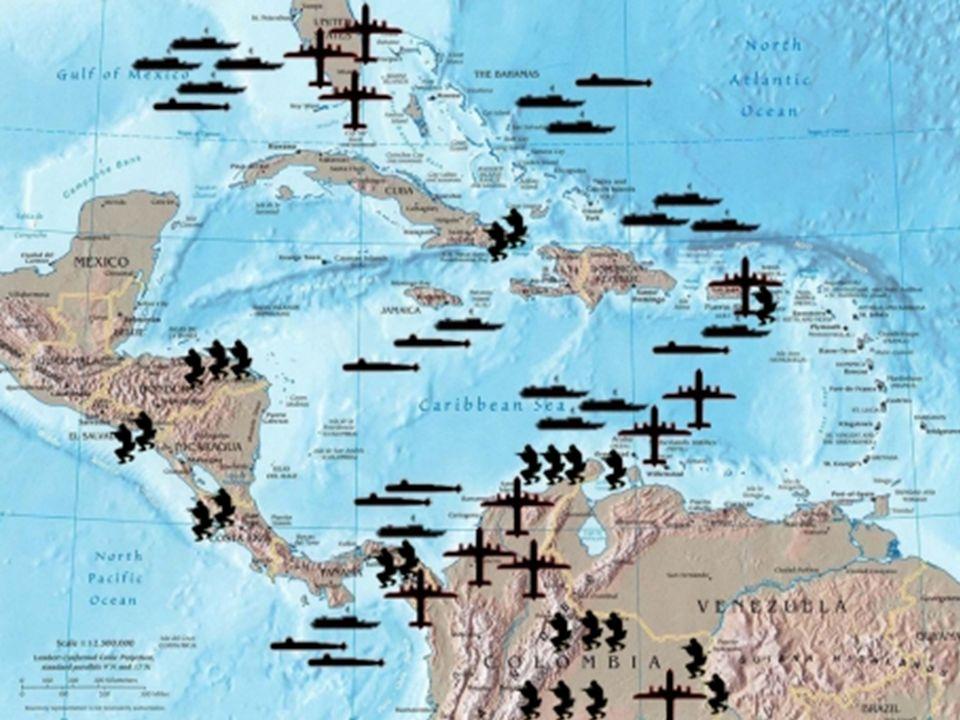 Al mismo tiempo, el Mediterráneo Oriental, el Mar Negro, el Caribe, América Central y la región andina de América del Sur, son las zonas de la militar