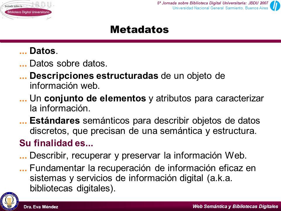Web Semántica y Bibliotecas Digitales Dra.