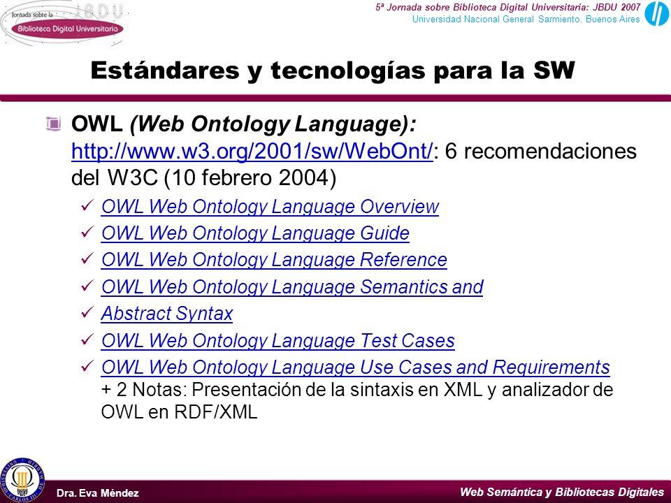 Web Semántica y Bibliotecas Digitales Dra. Eva Méndez Buenos Aires, 2007 5ª Jornada sobre Biblioteca Digital Universitaria: JBDU 2007 Universidad Naci