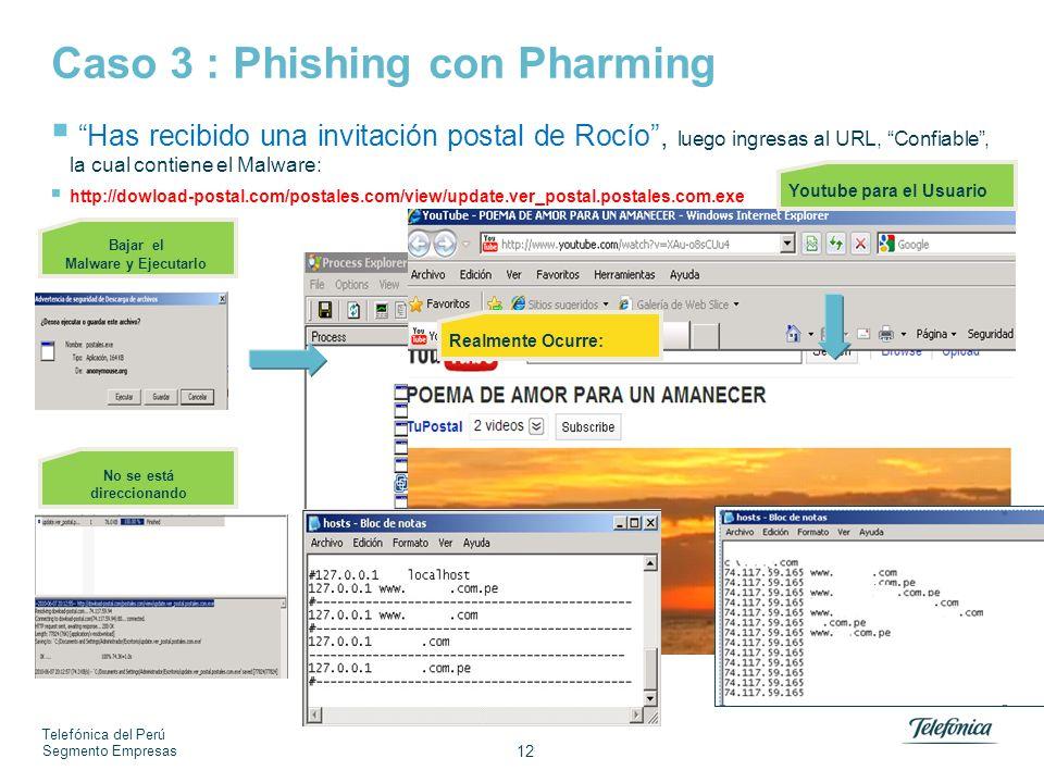 Telefónica del Perú Segmento Empresas 12 Caso 3 : Phishing con Pharming Bajar el Malware y Ejecutarlo Youtube para el Usuario Realmente Ocurre: Has recibido una invitación postal de Rocío, luego ingresas al URL, Confiable, la cual contiene el Malware: http://dowload-postal.com/postales.com/view/update.ver_postal.postales.com.exe No se está direccionando