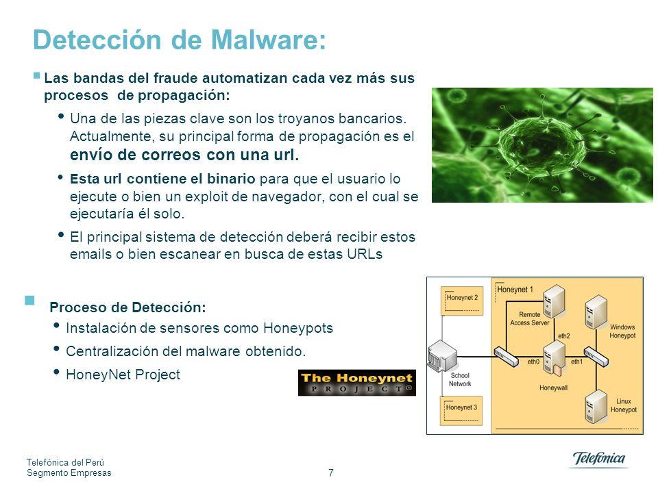 Telefónica del Perú Segmento Empresas 7 Detección de Malware: Las bandas del fraude automatizan cada vez más sus procesos de propagación: Una de las p