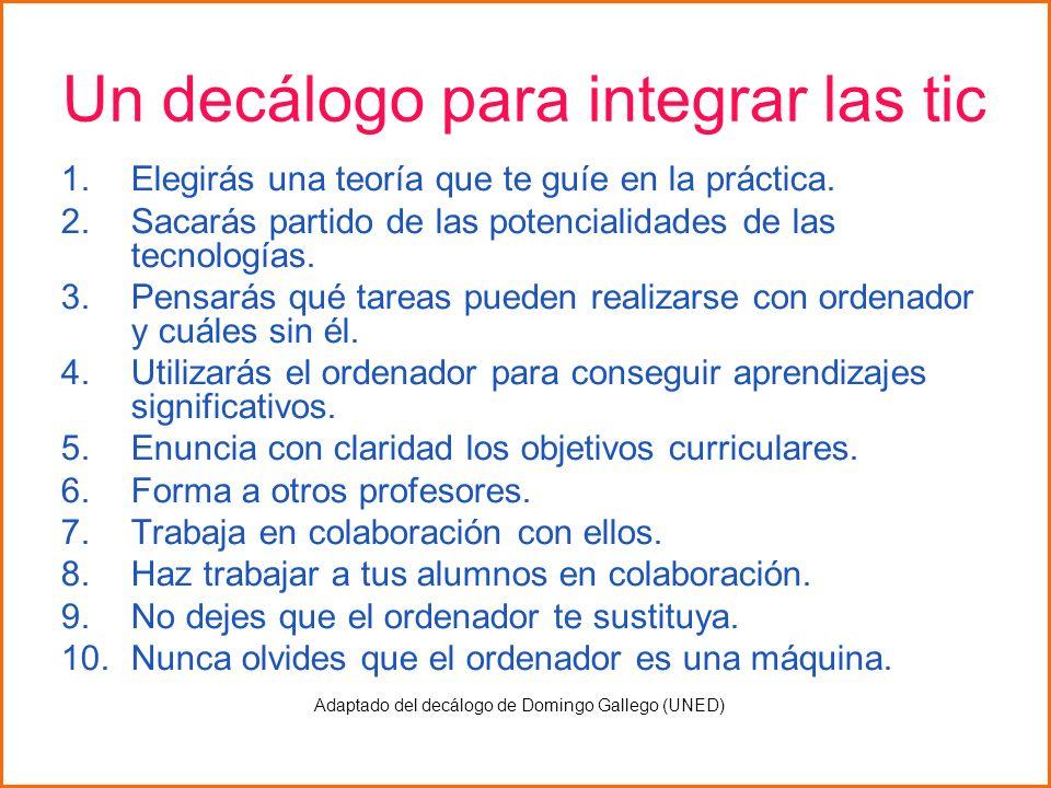 Un decálogo para integrar las tic 1.Elegirás una teoría que te guíe en la práctica. 2.Sacarás partido de las potencialidades de las tecnologías. 3.Pen