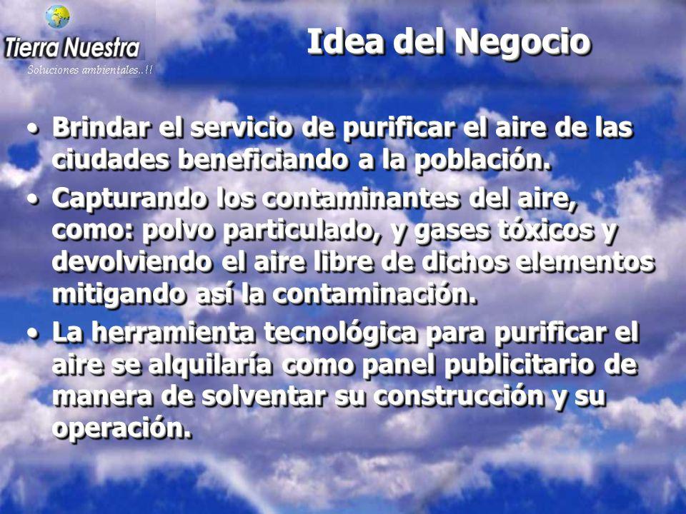 Idea del Negocio Brindar el servicio de purificar el aire de las ciudades beneficiando a la población.Brindar el servicio de purificar el aire de las ciudades beneficiando a la población.