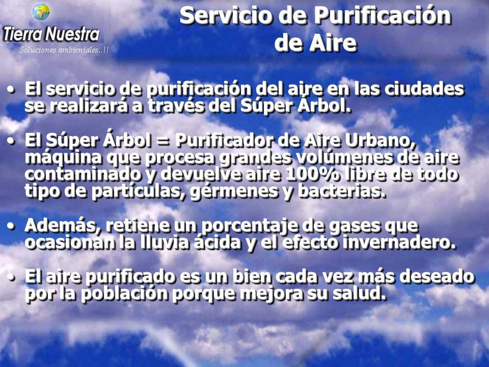 Servicio de Purificación de Aire El servicio de purificación del aire en las ciudades se realizará a través del Súper Árbol.El servicio de purificación del aire en las ciudades se realizará a través del Súper Árbol.
