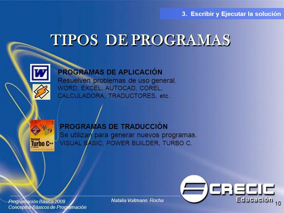 Programación Básica 2009 Conceptos Básicos de Programación Natalia Voitmann Rocha 10 PROGRAMAS DE APLICACIÓN Resuelven problemas de uso general. WORD,