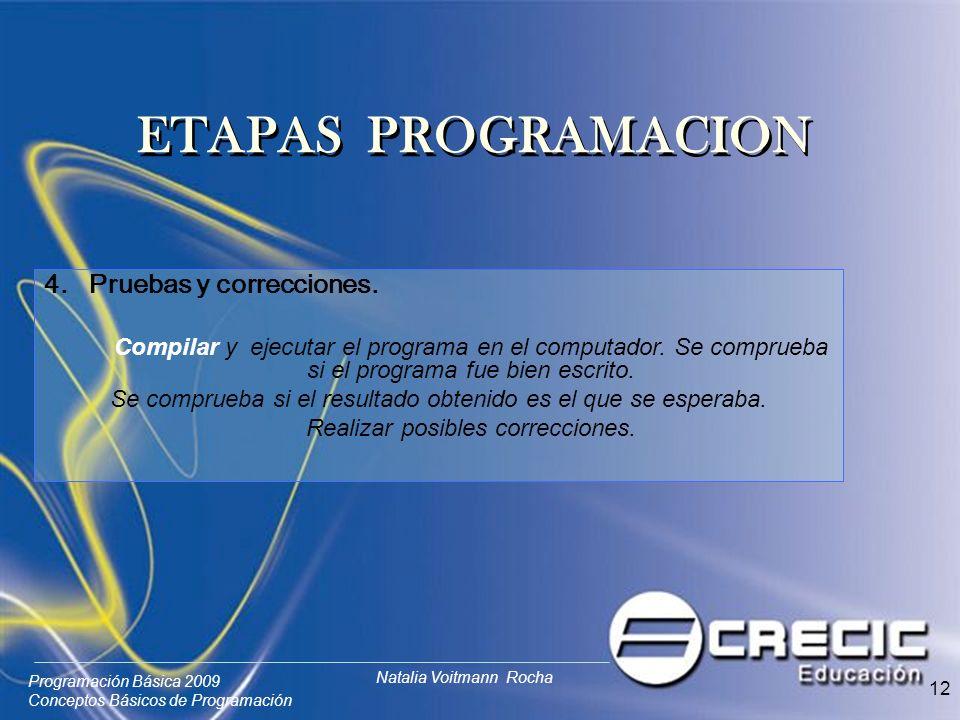 Programación Básica 2009 Conceptos Básicos de Programación Natalia Voitmann Rocha 12 4. Pruebas y correcciones. Compilar y ejecutar el programa en el