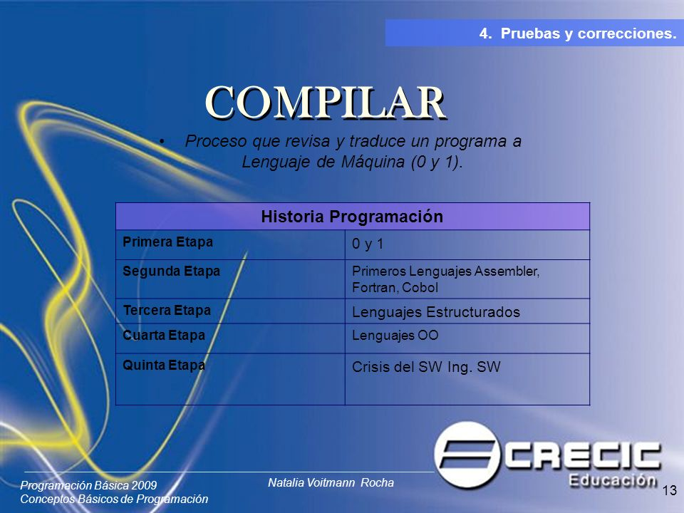 Programación Básica 2009 Conceptos Básicos de Programación Natalia Voitmann Rocha 13 Proceso que revisa y traduce un programa a Lenguaje de Máquina (0 y 1).