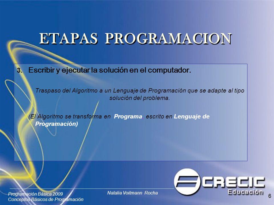Programación Básica 2009 Conceptos Básicos de Programación Natalia Voitmann Rocha 6 3.