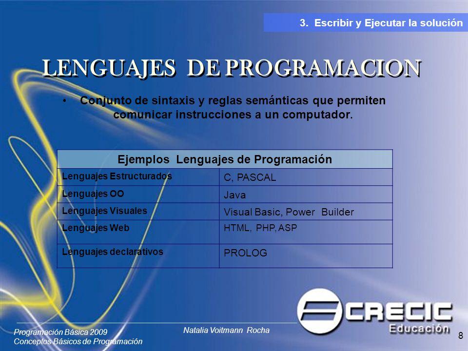 Programación Básica 2009 Conceptos Básicos de Programación Natalia Voitmann Rocha 8 Conjunto de sintaxis y reglas semánticas que permiten comunicar instrucciones a un computador.
