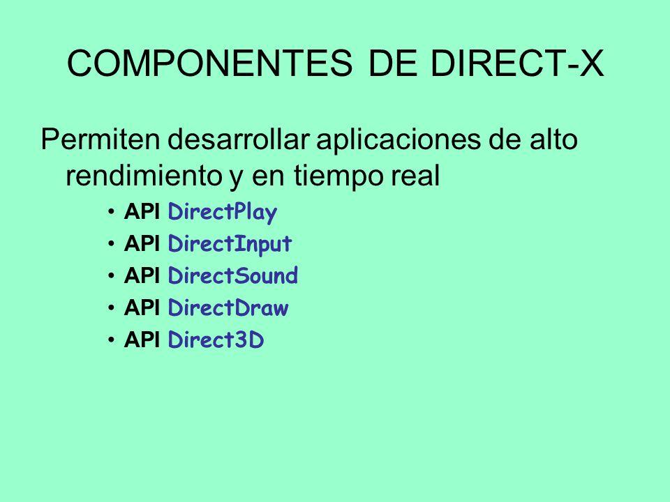 DIRECTX - INTRODUCCIÓN ¿Qué es DirectX? –Conjunto de API´s que permite a los desarrolladores de contenido interactivo (imagen, video, sonido...) acced