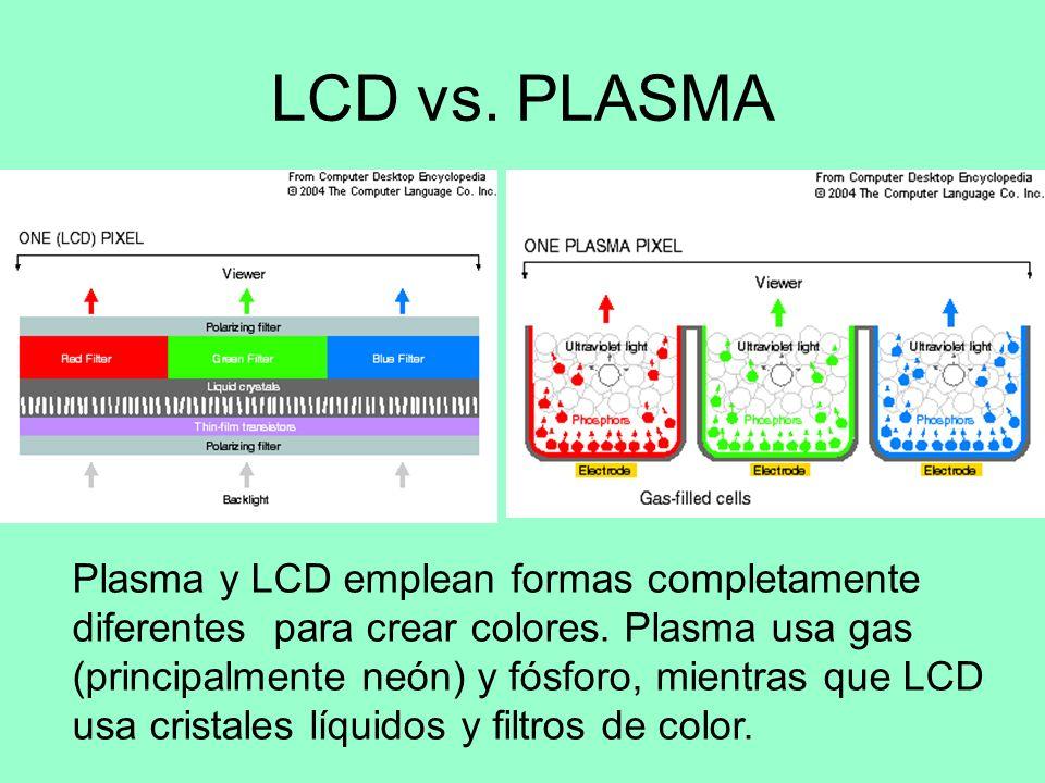 LCD vs. PLASMA LCD es una tecnología que utiliza las propiedades del cristal líquido, en el que aplicando descargas eléctricas y contando con un trans