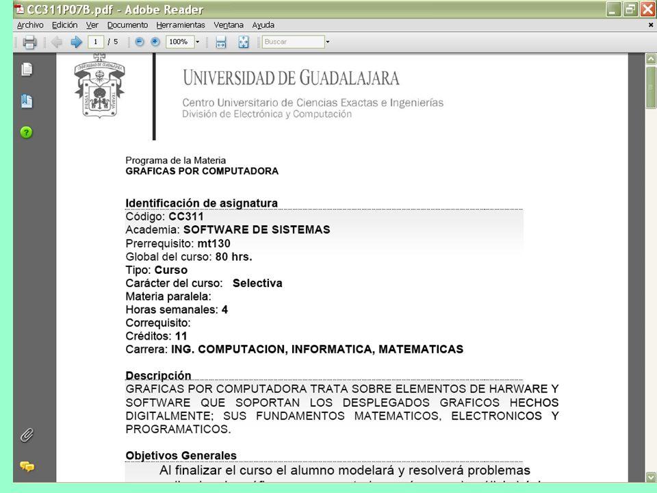 Para obtener el programa de la asignatura, así como el plan de actividades del curso, consultar: http://dcc.cucei.udg.mx Opción alumnos + programashtt