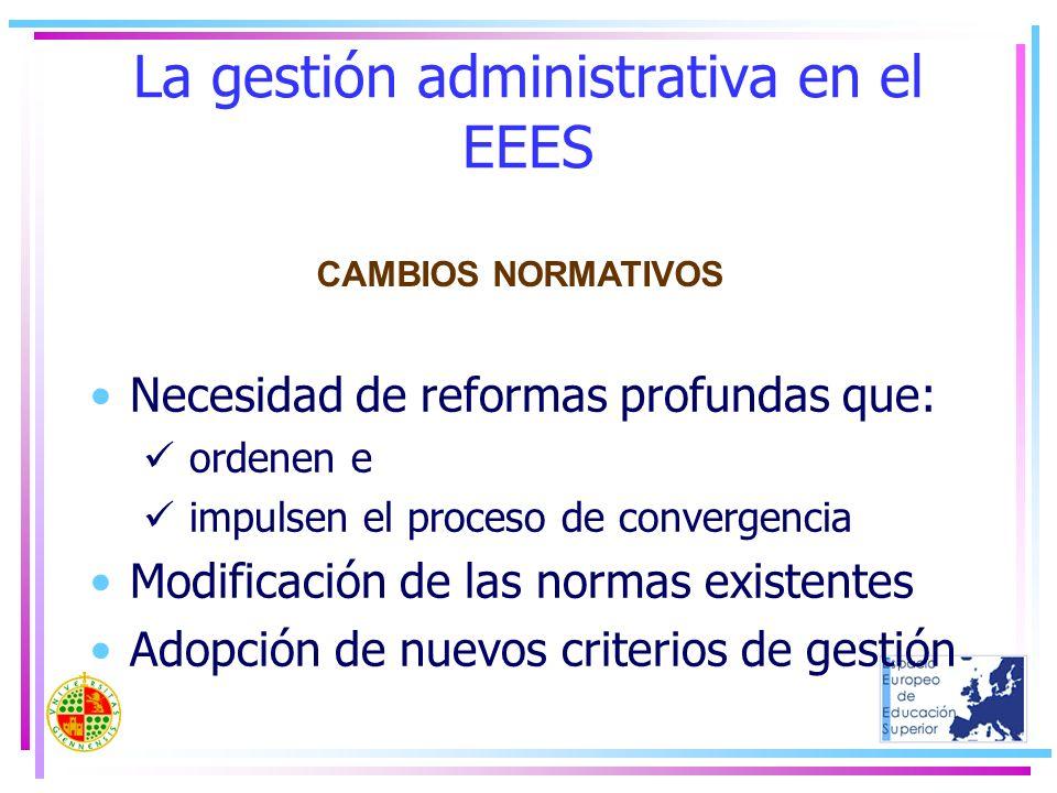 La gestión administrativa en el EEES Necesidad de reformas profundas que: ordenen e impulsen el proceso de convergencia Modificación de las normas exi