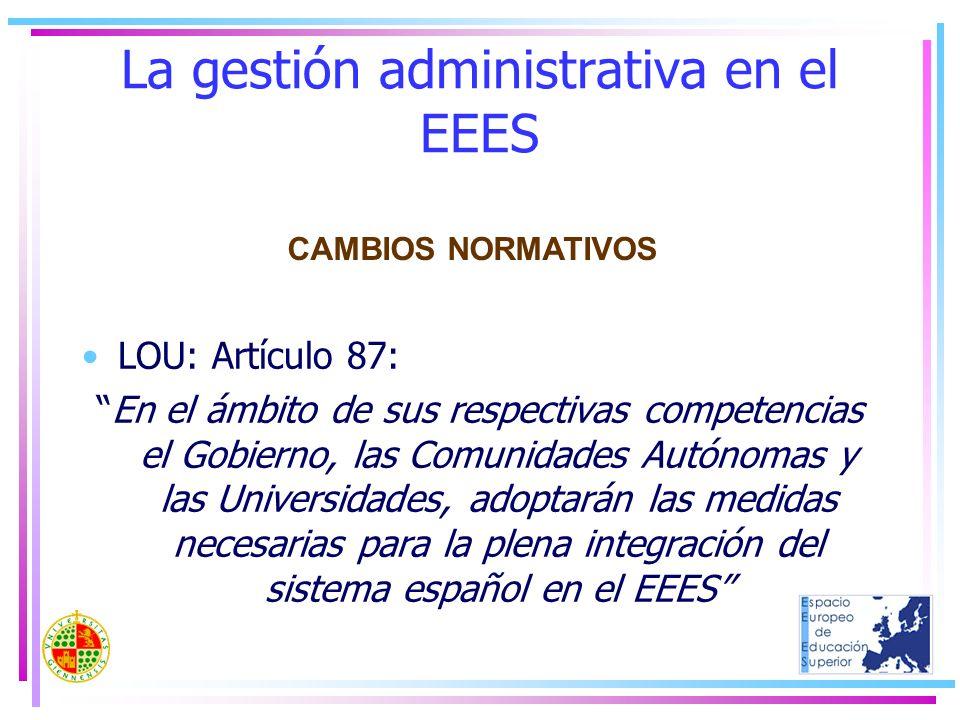 La gestión administrativa en el EEES LOU: Artículo 87: En el ámbito de sus respectivas competencias el Gobierno, las Comunidades Autónomas y las Unive