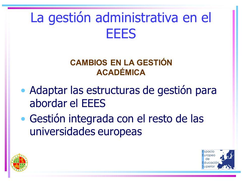 La gestión administrativa en el EEES Adaptar las estructuras de gestión para abordar el EEES Gestión integrada con el resto de las universidades europ