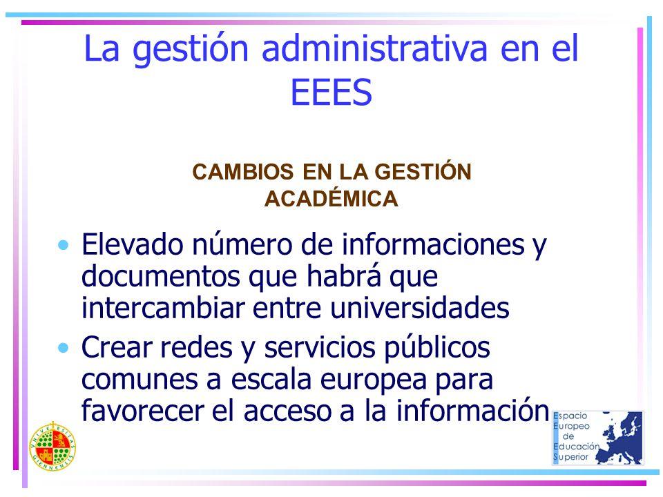 La gestión administrativa en el EEES Elevado número de informaciones y documentos que habrá que intercambiar entre universidades Crear redes y servici