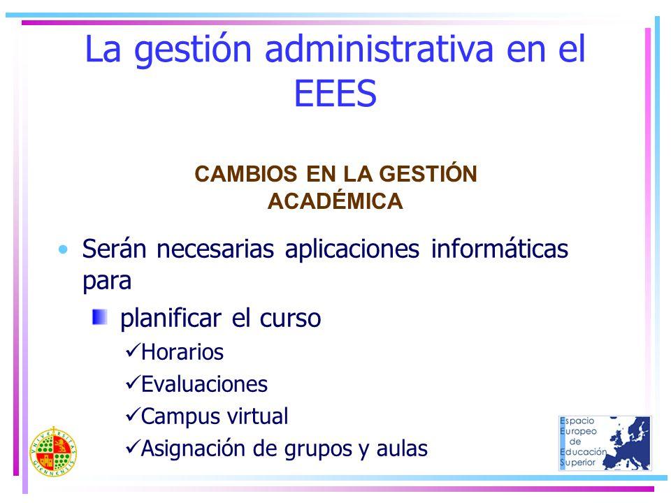 La gestión administrativa en el EEES Serán necesarias aplicaciones informáticas para planificar el curso Horarios Evaluaciones Campus virtual Asignaci