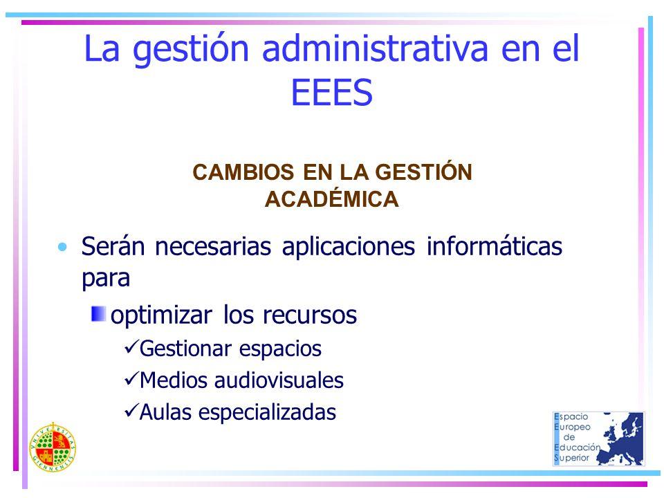 La gestión administrativa en el EEES Serán necesarias aplicaciones informáticas para optimizar los recursos Gestionar espacios Medios audiovisuales Au
