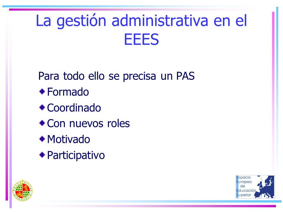 La gestión administrativa en el EEES Para todo ello se precisa un PAS Formado Coordinado Con nuevos roles Motivado Participativo