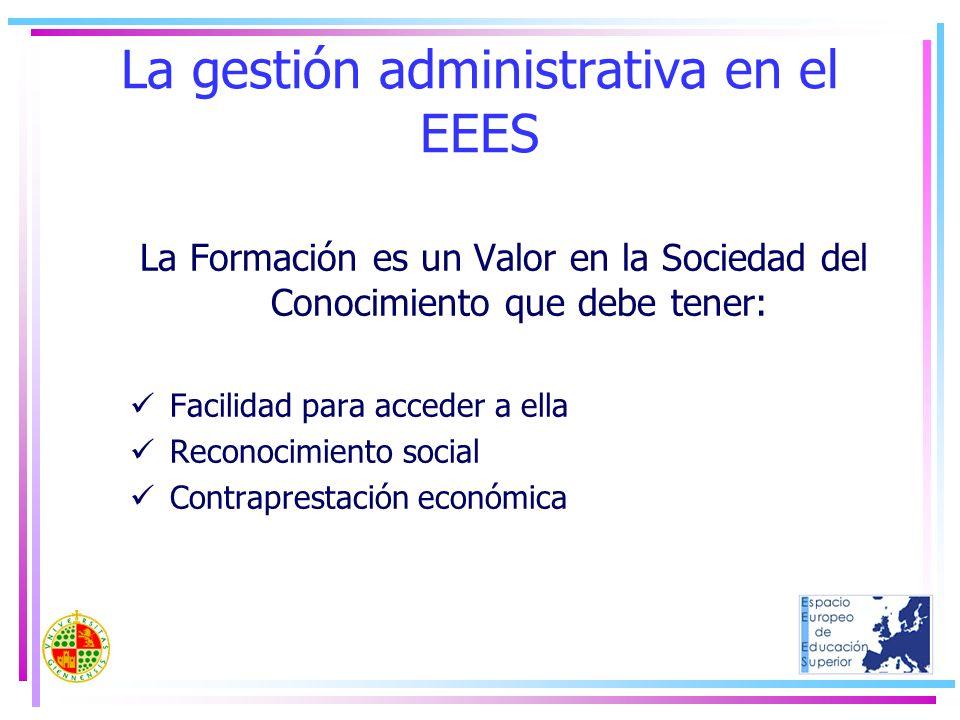 La gestión administrativa en el EEES La Formación es un Valor en la Sociedad del Conocimiento que debe tener: Facilidad para acceder a ella Reconocimi