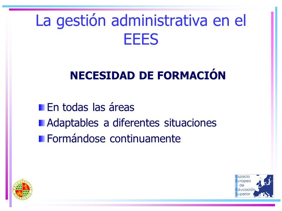 La gestión administrativa en el EEES NECESIDAD DE FORMACIÓN En todas las áreas Adaptables a diferentes situaciones Formándose continuamente