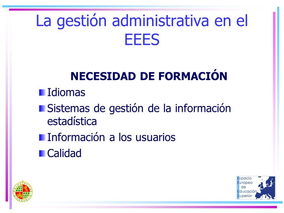 La gestión administrativa en el EEES NECESIDAD DE FORMACIÓN Idiomas Sistemas de gestión de la información estadística Información a los usuarios Calid