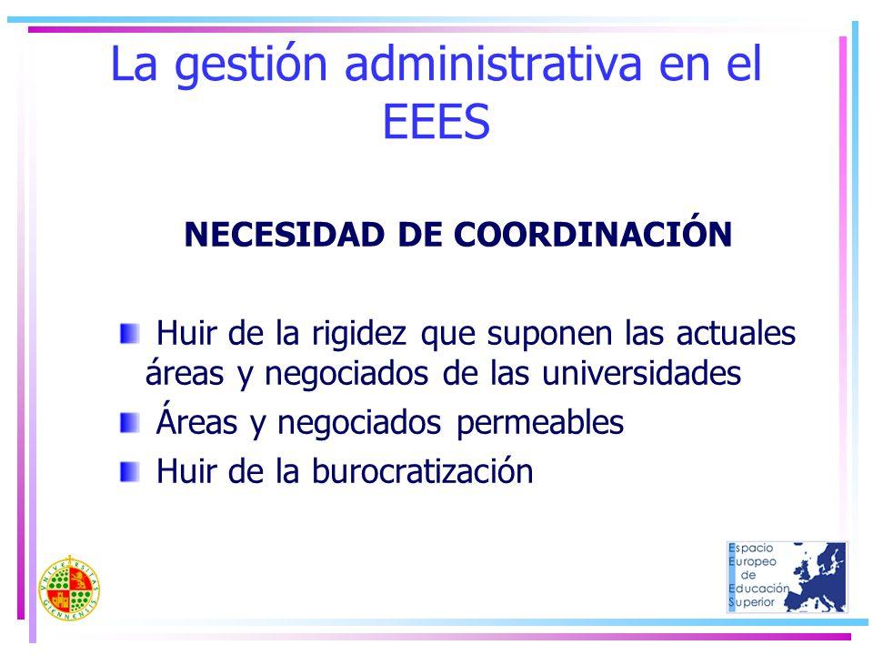 La gestión administrativa en el EEES NECESIDAD DE COORDINACIÓN Huir de la rigidez que suponen las actuales áreas y negociados de las universidades Áre