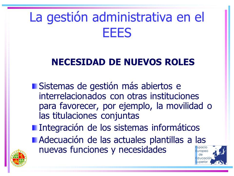 La gestión administrativa en el EEES NECESIDAD DE NUEVOS ROLES Sistemas de gestión más abiertos e interrelacionados con otras instituciones para favor