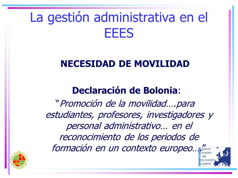 La gestión administrativa en el EEES NECESIDAD DE MOVILIDAD Declaración de Bolonia: Promoción de la movilidad….para estudiantes, profesores, investiga